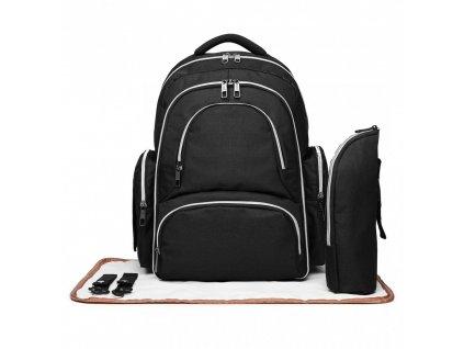 Přebalovací batoh s doplňky na kočárek - černý
