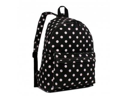 Stylový Školní Batoh - černý s puntíky