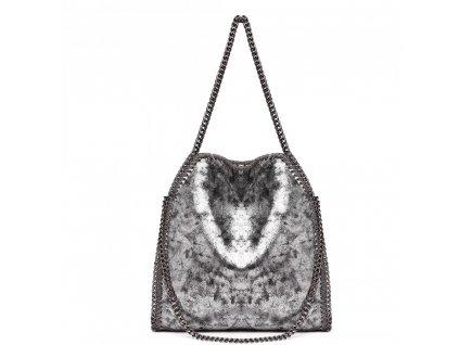 Velká dámská kabelka s řetízky - Stříbrná