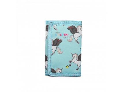 Dětská peněženka - jednorožci - modrá