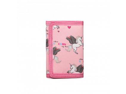 Dětská peněženka - jednorožci- růžová