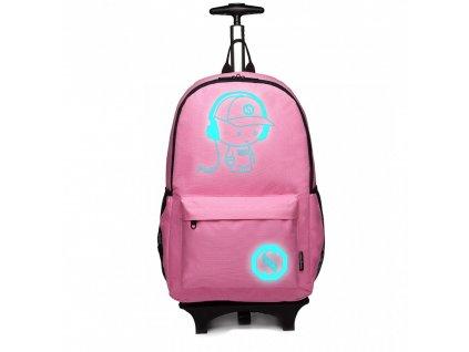 Batoh nebo zavazadlo na kolečkách - Růžový