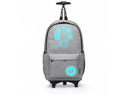 Batoh nebo zavazadlo na kolečkách - Šedý
