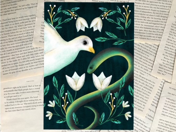 Art print: Holubice a had