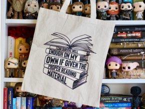 Plátěná taška - Proper reading material  CITÁT ZE SÉRIE DVŮR TRNŮ A RŮŽÍ