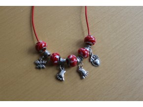Červený náhrdelník 44 cm