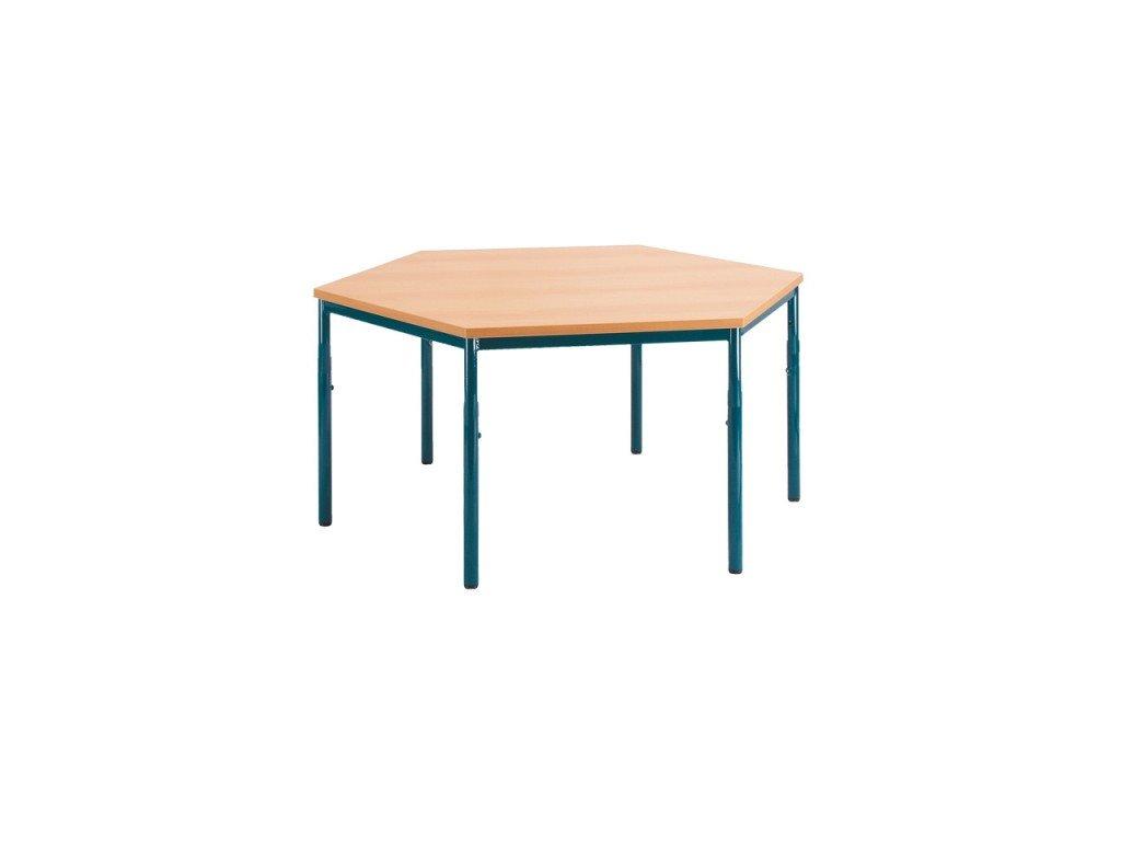 Školní stůl šestiúhelník, pevný