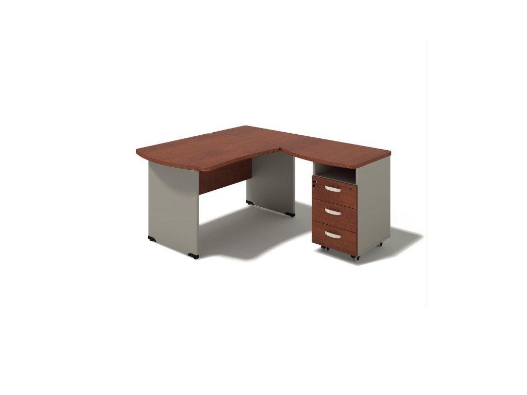 Rohový stůl MILÁNO s kontejnerem 180x160 cm, pravý