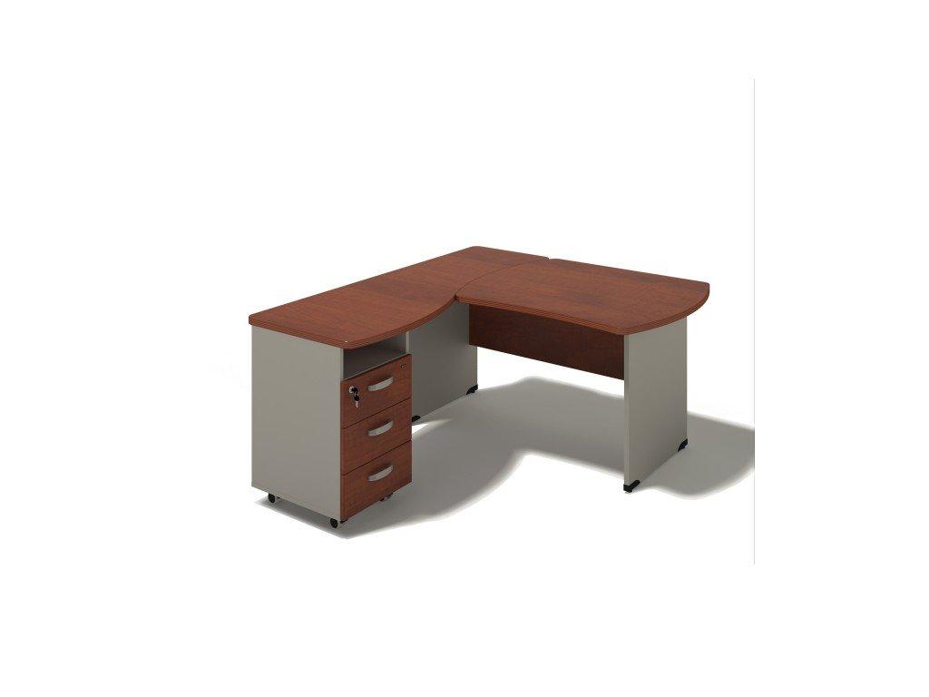 Rohový stůl MILÁNO s kontejnerem 180x160 cm, levý
