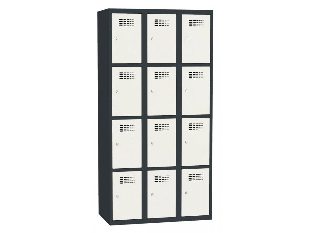 Boxová kovová šatní skříň KAMIL 12, 12 boxů, záruka 5 let