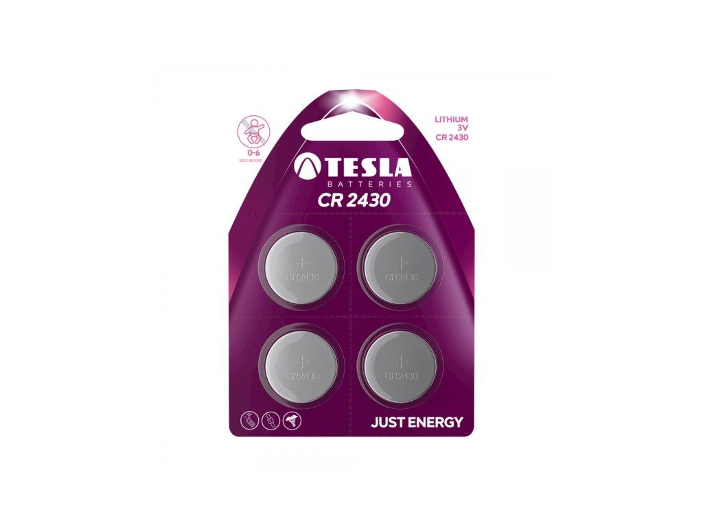 Knoflíková lithiová baterie Tesla CR2430, 3 V, blistr 4 ks