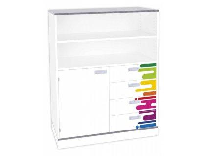 Dětská jednodveřová skříň se zásuvkami DENYT, 3 police, 1 dveře, 4 zásuvky.