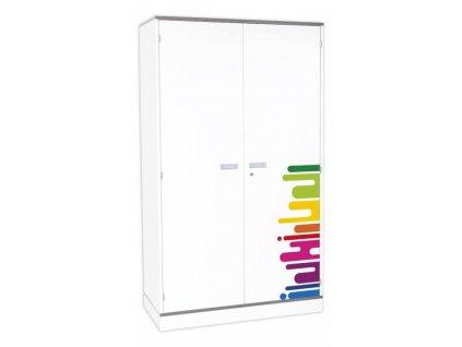 Dětská dvoudveřová skříň DENYT, 5 polic, 2 dveře.