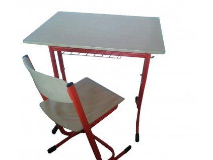 Školní lavice jednomístná pevná oblé rohy a židle