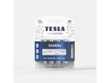 Alkalická baterie Tesla SILVER+ LR06/AA, 1,5 V, blistr 4 ks