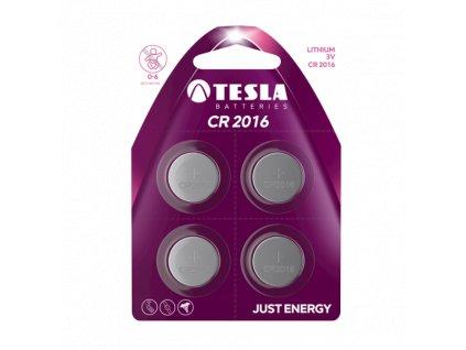 Knoflíková lithiová baterie Tesla CR2016, 3 V, blistr 4 ks