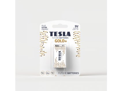 Alkalická baterie Tesla GOLD+ 9 V, blistr 1 ks