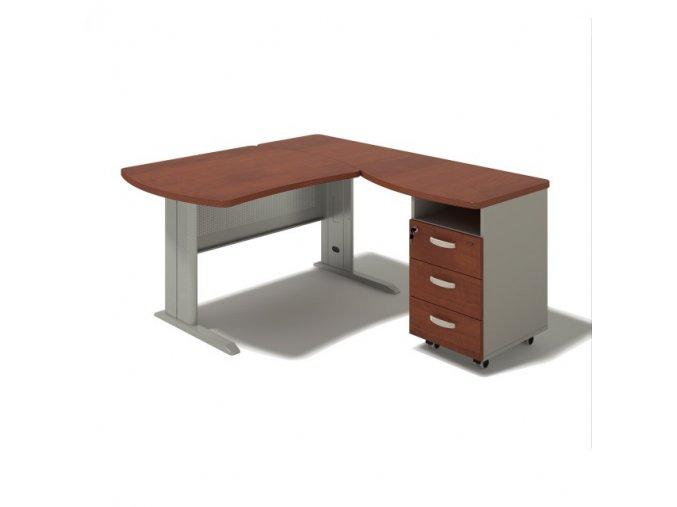 Rohový stůl MILÁNO na kovové podnoži 220x160 cm, pravý