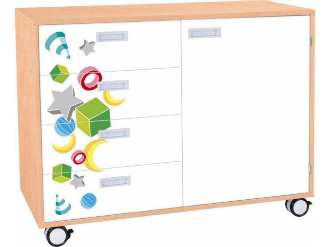 Dětská zásuvková skříň s dveřmi VEROT, 1 dveře, 4 zásuvky, kolečka.