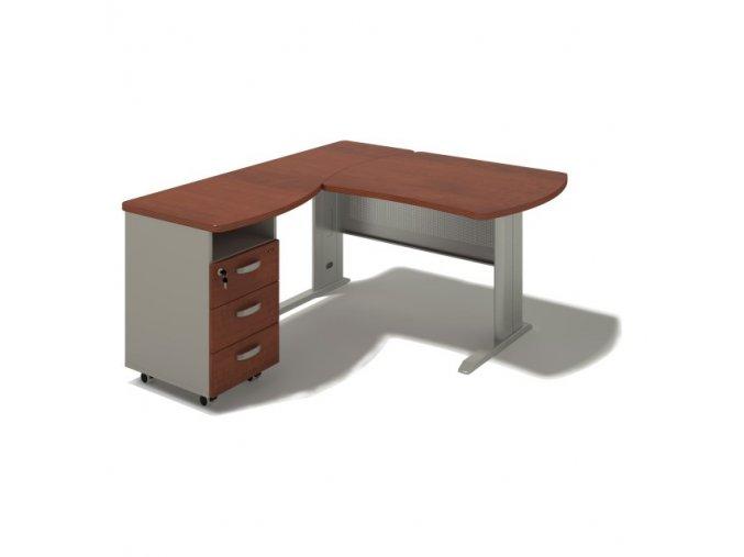 Rohový stůl MILÁNO na kovové podnoži 180x160 cm, levý
