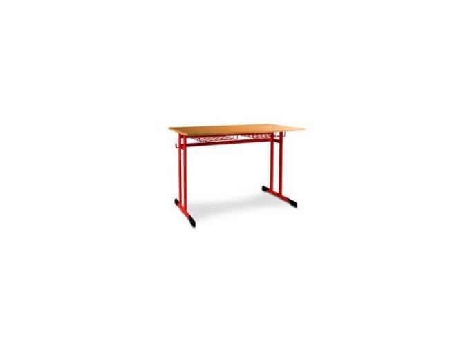 Školní lavice dvoumístná s koši, pevná