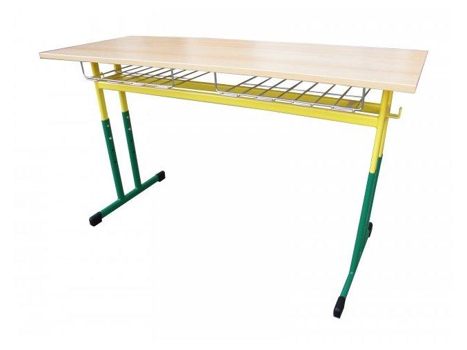 Školní lavice dvoumístná s koši, stavitelná,