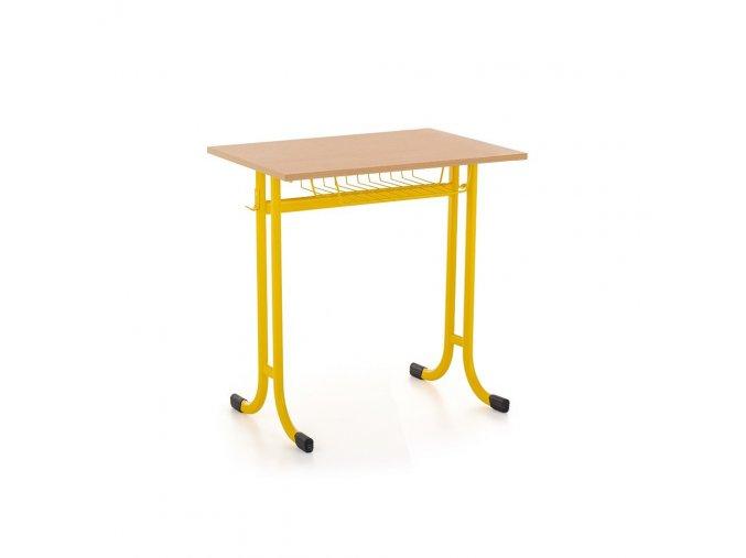 Školní lavice jednomístná s košem, pevná
