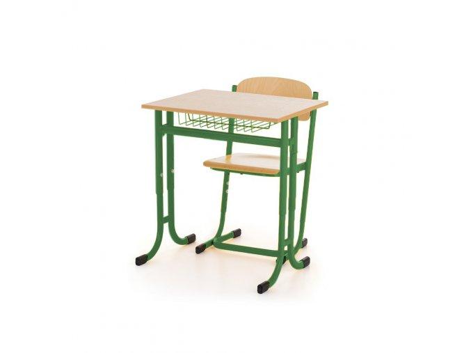 Školní lavice jednomístná pevná ostré rohy a židle