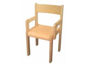Dětská dřevěná židle s područkami, mořená, LUCKA 4, velikost 30 cm