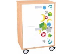 Dětská zásuvková skříň VEROT, 2 zásuvky, kolečka.
