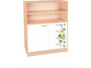 Dětská jednodveřová skříň se zásuvkami VEROT, 3 police, 1 dveře, 4 zásuvky.