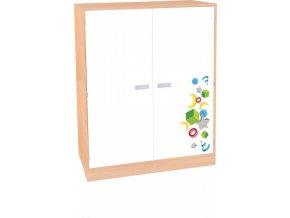 Dětská dvoudveřová policová skříň VEROT, 4 police, 2 dveře.