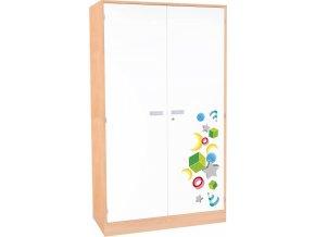 Dětská dvoudveřová skříň policová  VEROT, 5 police, 2 dveře.