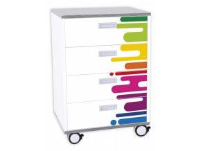 Dětská zásuvková skříň DENYT, 4 zásuvky, kolečka.