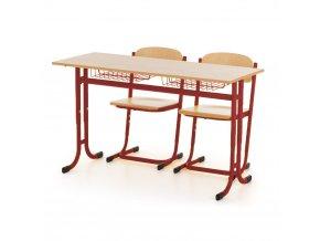 Školní lavice pevná ostré rohy a dvě židle