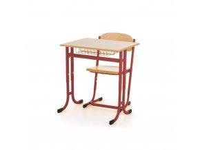 Školní lavice jednomístná stavitelná ostré rohy a židle