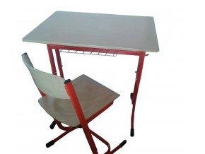 Školní lavice jednomístná stavitelná oblé rohy a židle