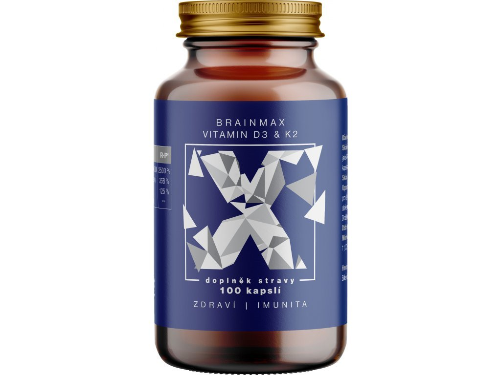 Votamax BrainMax Vitamin D3 & K2, D3 5000 IU / K2 jako MK7 150 mcg, 100 kapslí