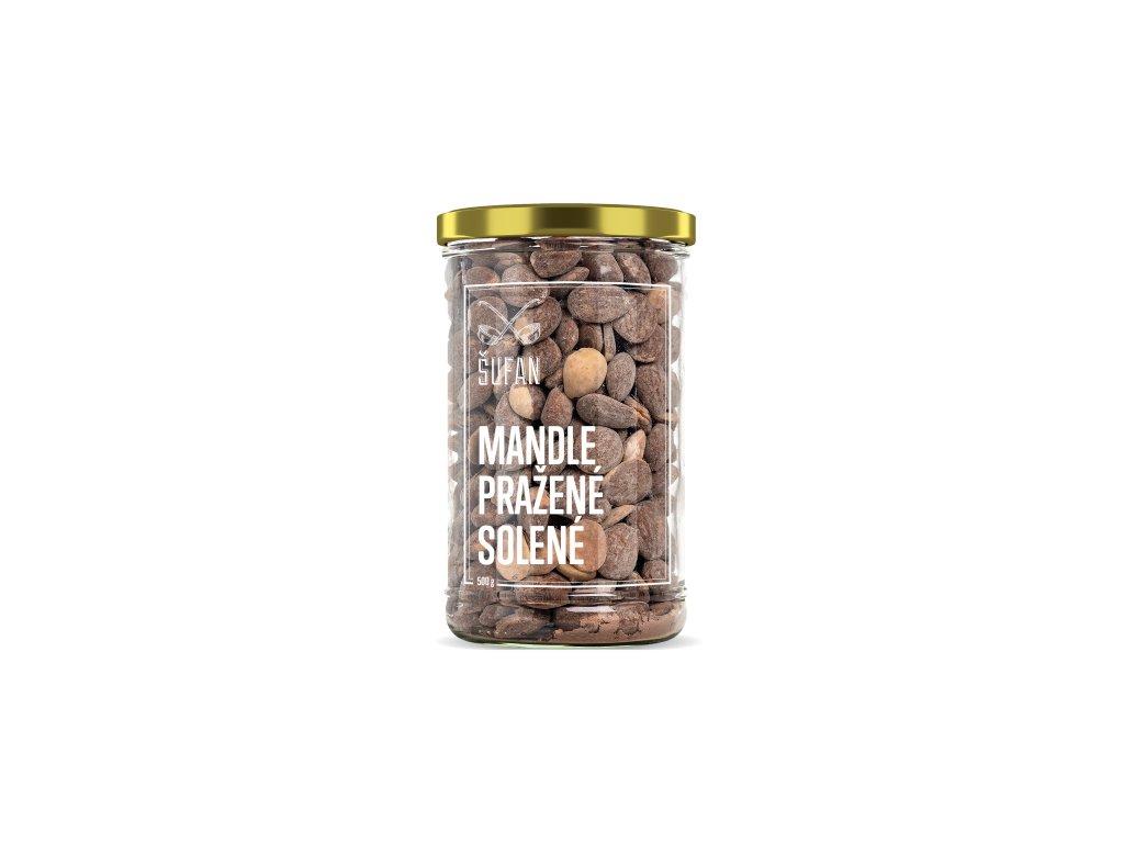 Šufan Mandle pražené solené ve skle 500 g