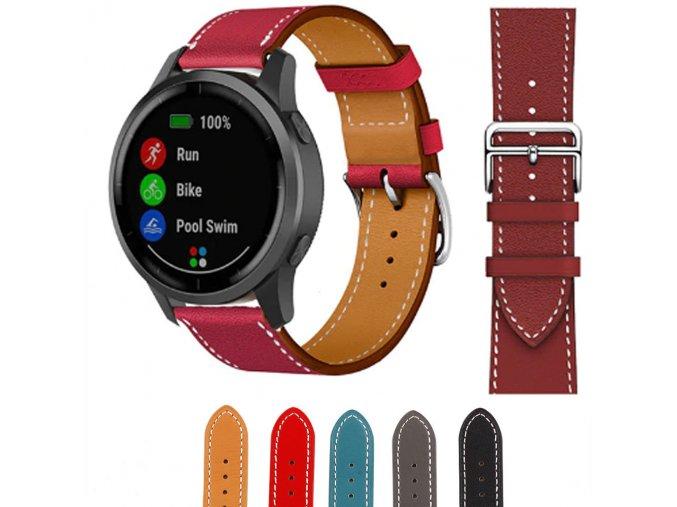 Kožený pásek pro Garmin vívoactive 4S (Barva Červená)
