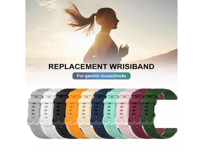 Silikonový pásek na Garmin vívoactive 4S (Barva Bílá)