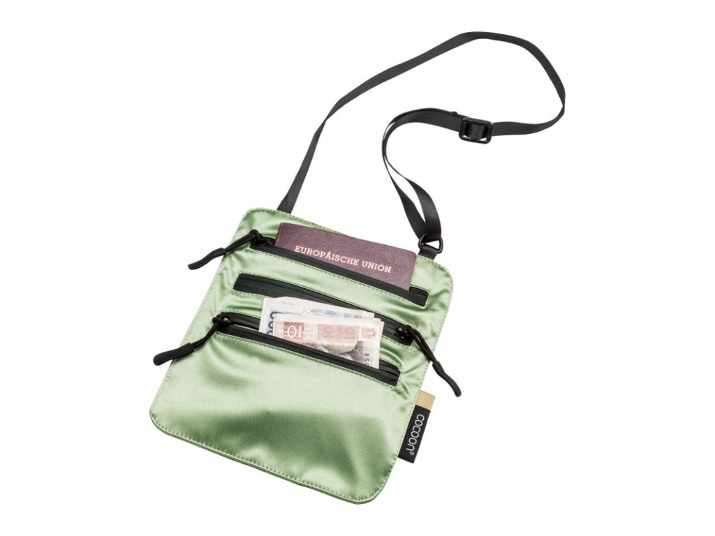 Cocoon skrytá kapsa Secret Neck Wallet Silk light green