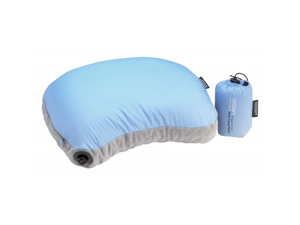 Cocoon ultralehký nafukovací polštář Hood light blue
