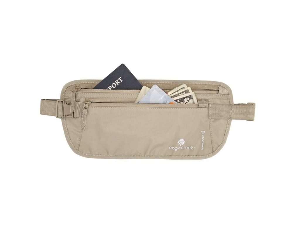 Eagle Creek ledvinka RFID Blocker Money Belt DLX tan