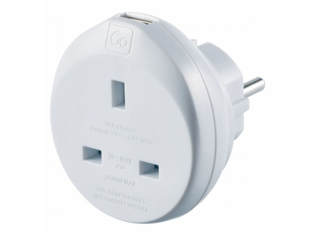 Go Travel adaptér UK/Evropa s USB