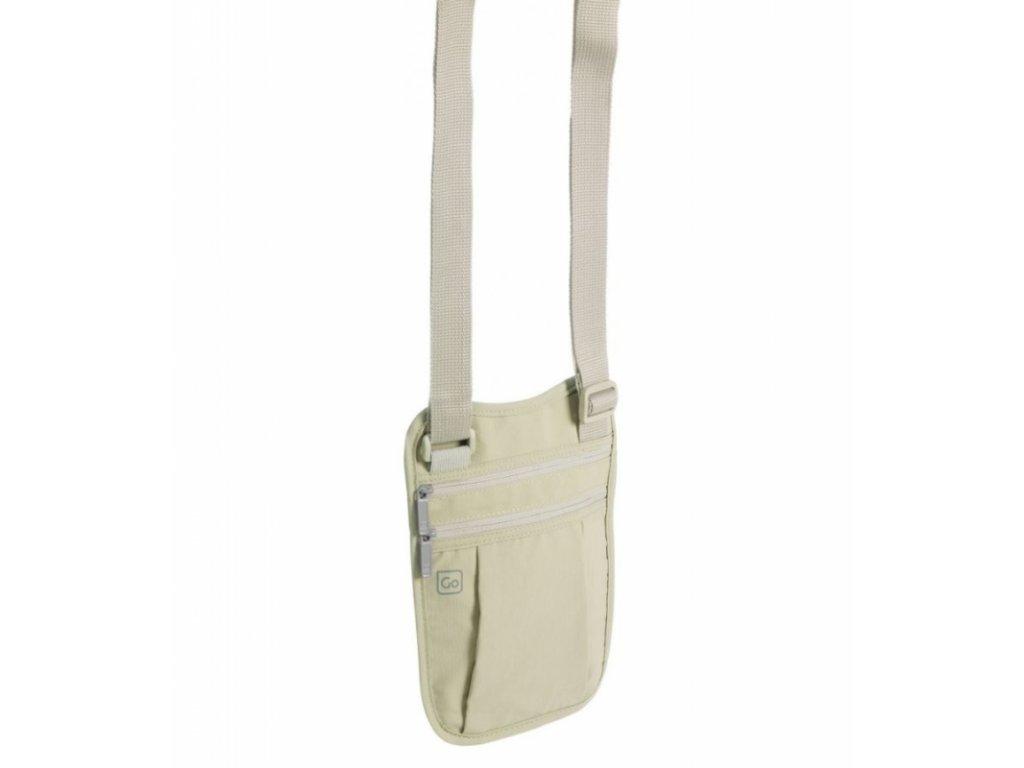 Go Travel skrytá kapsa přes rameno Shoulder Wallet tan