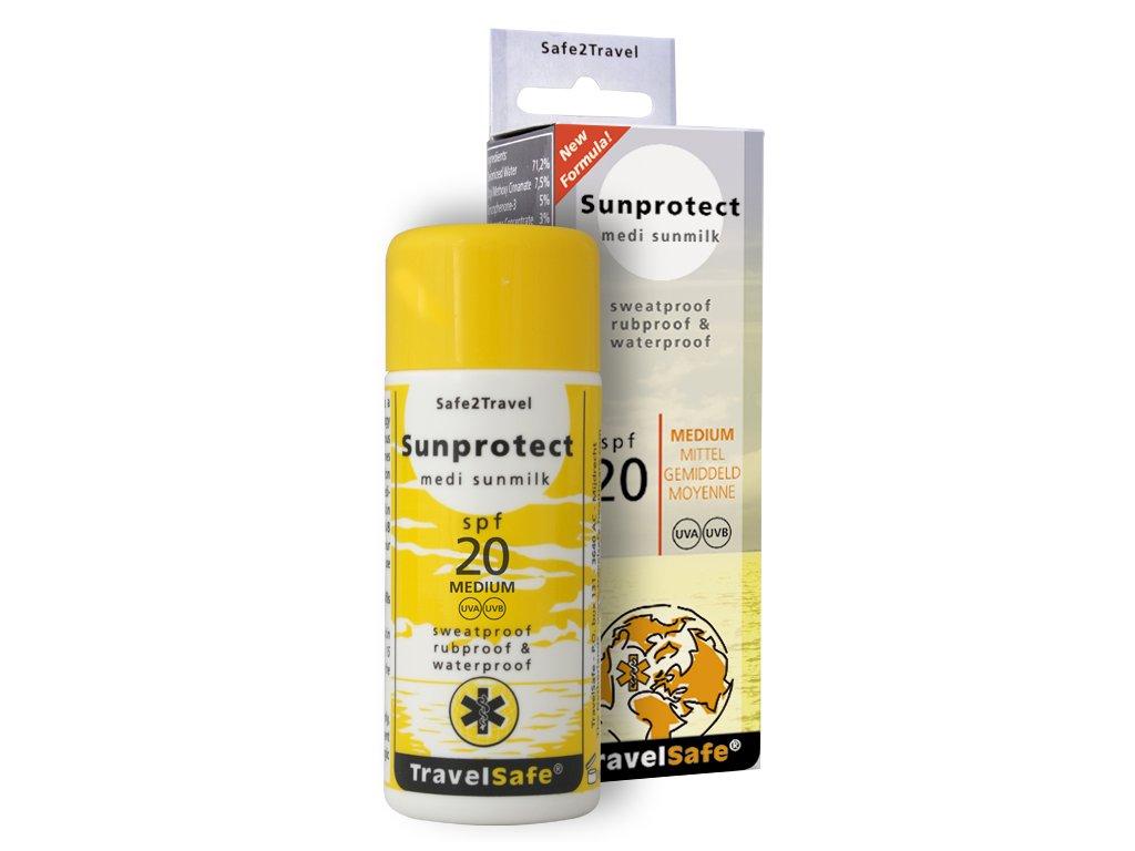 TravelSafe opalovací mléko Sunprotect faktor 20