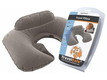 TravelSafe nafukovací podhlavník Travel Pillow grey