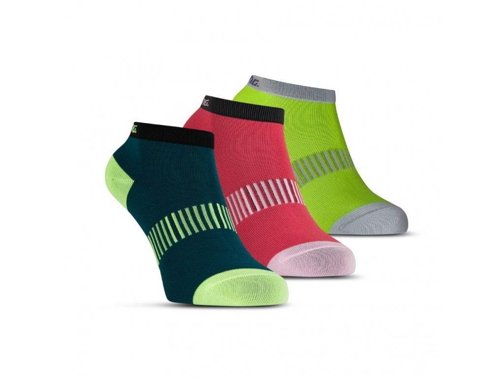 Salming Performance Ankle Sock 3p Teal/Yellow/Red (Velikosti oblečení 39-42)