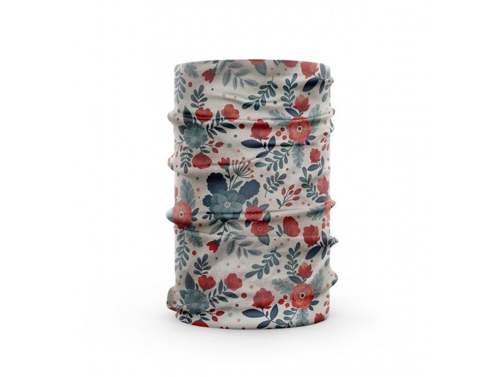 3760 1 bavlneny nakrcnik kvety cervena modra